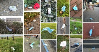 Een collage van mondkapjes die op straat of in de natuur zijn gegooid