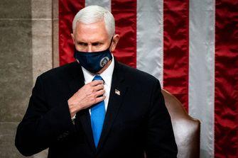 Een foto van Mike Pence, vice-president van Donald Trump