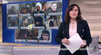Beelden van de gezochte relschoppers in Amsterdam en Den Bosch.