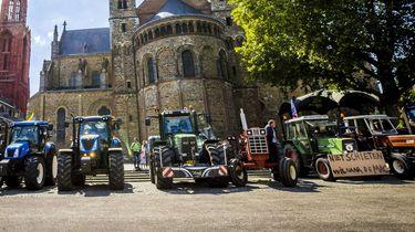 Een foto van een boerenprotest in Maastricht
