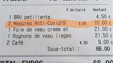 Een Brussels restaurant rekent vijf euro 'coronatoeslag' per persoon