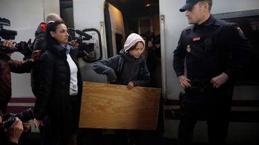 Greta Thunberg arriveert in Madrid.