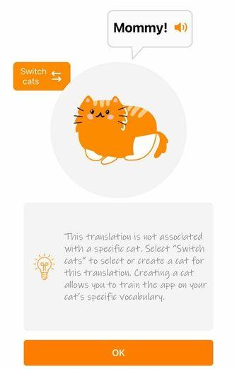 Screenshot van de app die miauwtjes vertaalt.