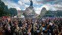 Protestanten in Frankrijk komen samen op de Place de la Republique.