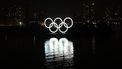 Foto van de vijf Olympische ringen in Tokio