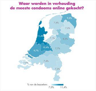 Een kaart met informatie over hoe vaak per provincie op condoom wordt gezocht