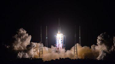 Een foto van de lancering naar maan, afgelopen dag