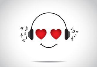 Een graphic van muziek luisteren op Valentijnsdag