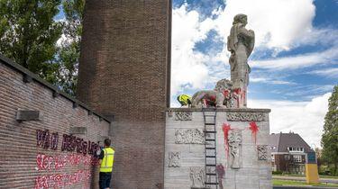 Indië Nederland monument in Amsterdam beklad
