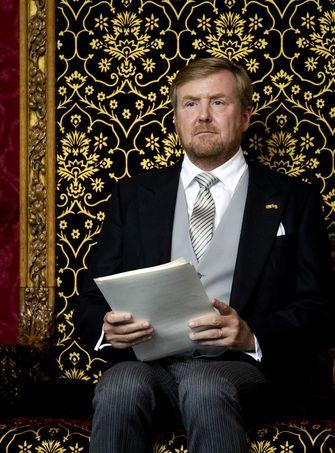 Een foto van koning Willem-Alexander tijdens het voorlezen van de Troonrede