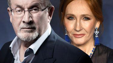 Op deze foto zie Salman Rushdie en J.K. Rowling