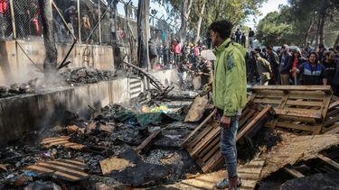 Brand in vluchtelingenkamp op Lesbos