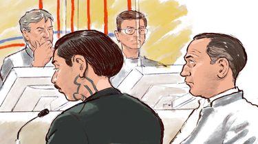 Op deze foto zie je rechtbanktekening van Frank Y. (L) en zijn advocaat David Rutten.