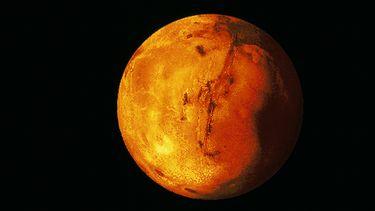 Op deze foto zie je een gedigitaliseerde tekening van planeet Mars.