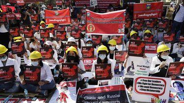 Foto van protest Myanmar