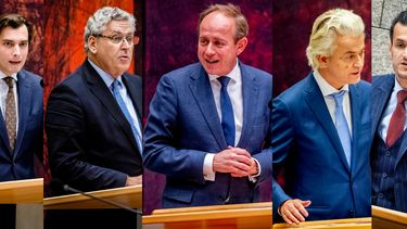 V.l.n.r. Thierry Baudet (FVD), Henk Krol (LHK), Kees van der Staaij (SGP), Geert Wilders (PVV) en Farid Azarkan(DENK)