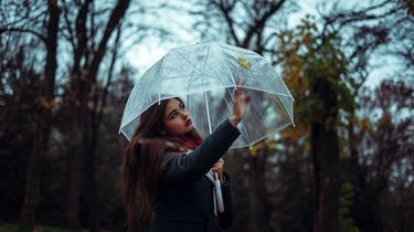 jonge vrouw onder paraplu in het bos