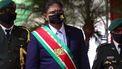 Een foto waarop Chan Santokhi te zien is, tijdens zijn inauguratie als president van Suriname.
