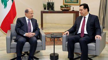 Libanon's President Michel Aoun (links) met premier Hassan Diab