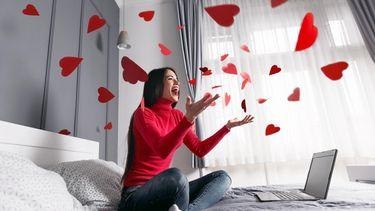 Een foto van hartjes en een digitale Valentijnsdag