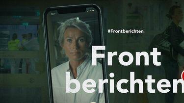 Een foto van een smartphone met een zorgmedewerkster en het logo van Frontberichten