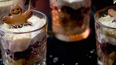Gingerbread trifle in glaasjes