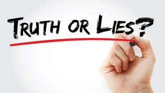 Een foto met de geschreven woorden waarheid of liegen