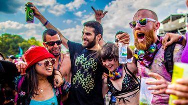 Een foto van festivalgangers op Sziget in Budapest