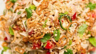 Op deze foto zie je pittige Aziatische kipsalade met gebakken uitjes