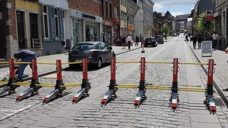 Deze mobiele barrière kan door één binnen een paar minuten worden opgezet. Bron: RV.