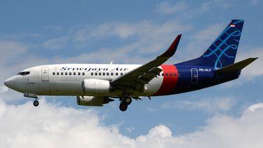 Een vliegtuig van Sriwijaya Air.