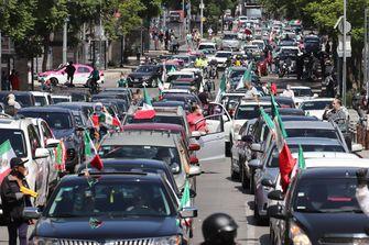 Een foto van een protest met auto's in Mexico