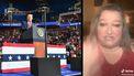Op deze foto zie je links President Trump en rechts Mary Jo Laup