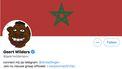 Een foto waarop het Twitteraccount van PPV-leider Geert Wilders te zien is. Zijn achtergrond is de Marokkaanse vlag en zijn profielfoto is een karikatuur van een zwarte man.