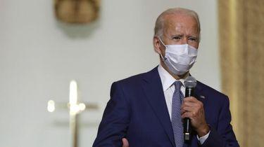 Een foto van Joe Biden, tijdens zijn speech in een kerk in Winconsin