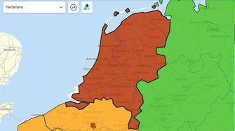 Nederland op de Europese Coronakaart op 8 augustus 2021.