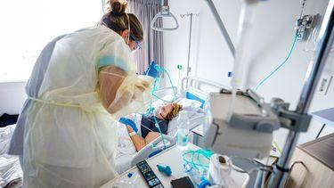 Een foto van een coronapatiënt in een van de ziekenhuizen