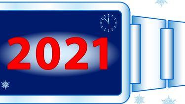 Een illustratie van het getal van het nieuwe jaar 2021