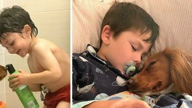 Het jongetje en zijn hond.