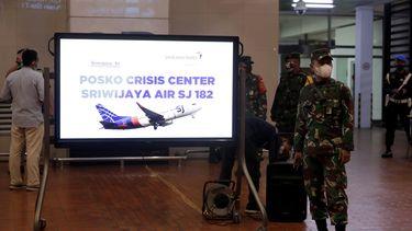 Foto van het crisiscentrum dat is opgezet op het vliegveld van Jakarta