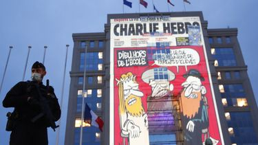Op deze foto is een gebouw te zien waarop een cartoon van Charlie Hebdo op geprojecteerd is.