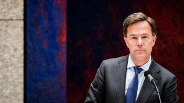 Een foto van premier Mark Rutte tijdens een debat in de Tweede Kamer