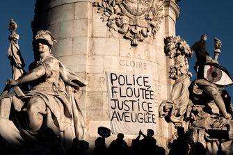 Foto van de demonstratie in Frankrijk