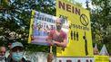 Foto van demonstratie tegen executie Navid Afkari