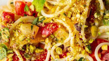 Op deze foto zie je ons favoriete recept voor pasta in de zomer