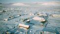 Een luchtfoto van het Russische dorp Oymyakon