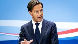 Een foto van premier Rutte persconferentie