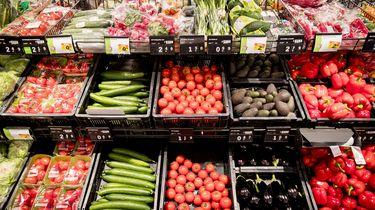 Tomaten, komkommer, paprika en lente-ui op de groenteafdeling van supermarktketen Albert Heijn. Foto: ANP   Jerry Lampen