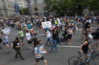 Een foto van de demonstratie tegen racisme in Washington op zaterdag