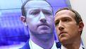 Een foto van Facebook CEO Mark Zuckerberg met achter hem een scherm waarop zijn gezicht geprojecteerd wordt